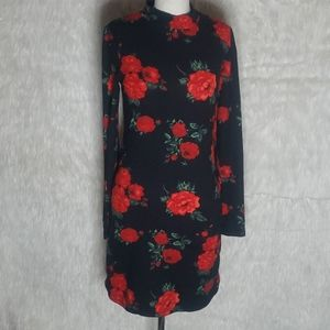 SZ M Heart and Hips Rose Print Dress